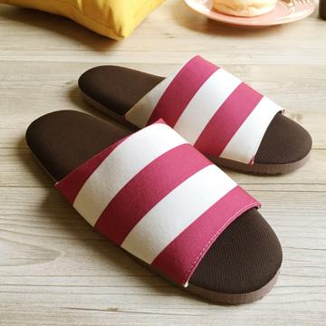 漫活咖啡紗家居室內拖鞋-條紋-紅