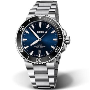 ORIS 豪利時 Aquis 時間之海潛水300米自動上鍊x藍水鬼x43.5mm 0173377304135-0782405PEB