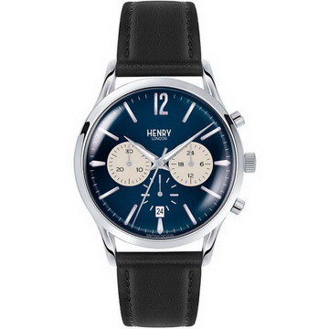 Henry London 英倫復古風潮 KNIGHTSBRIDGE 沉穩品味腕錶 HL41-CS-0039 皮帶 藍/銀 41mm