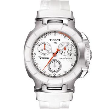 TISSOT 天梭 T-RACE LADY 計時陶瓷真鑽腕錶 白 36.65mm T0482172701600