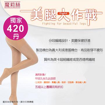 【魔莉絲彈性襪】重織420DEN西德棉九分內搭褲襪一組兩雙(高階,醫護最愛,約為壓力等級第二級)