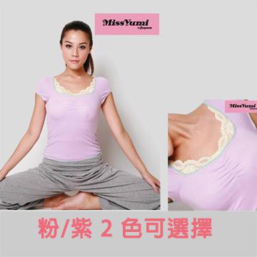 missyumi 胸前抓皺蕾絲彈性純棉短袖