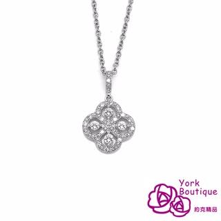 【約克精品】春之花方晶鋯石包銠金項鍊(SGS認證)