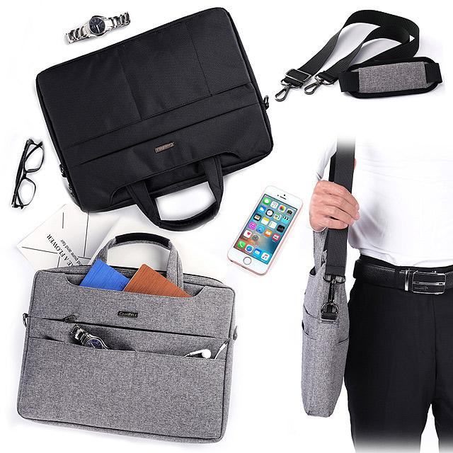 [15.6吋] 簡尚品味 雙拉鍊防潑水手提肩背兩用平板筆電包