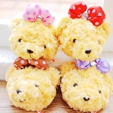 子安的店【S102022430】點點蝴蝶結毛絨小熊造型零錢萬用包