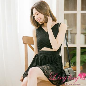 lingling A3358-02浪漫氣氛交叉露腰鏤空蕾絲背心小洋裝(魅力黑)