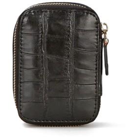 ミラーリップスティックバッグストレージ小型ポータブル口紅ボックスのメイクアップ化粧品袋付き (Color : ブラック)