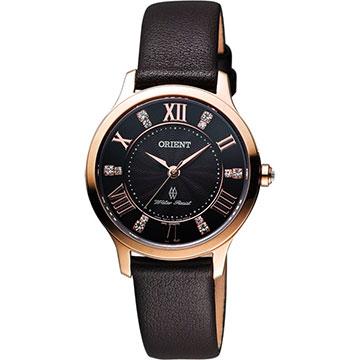 ORIENT 東方錶 美麗優雅時尚晶鑽女錶 咖啡x玫瑰金框 FUB9B001T