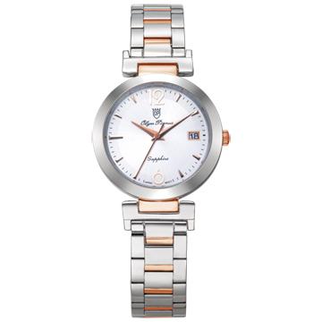 Olym Pianus 奧柏表 想樂份子流行腕錶 白X玫瑰金 5684MS