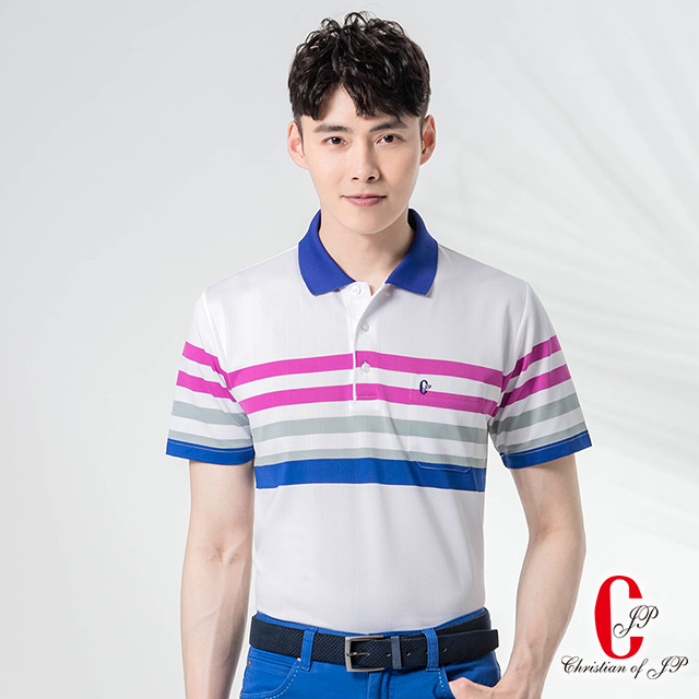 【Christian】涼夏型男彈性透氣POLO_白(PS875-80)