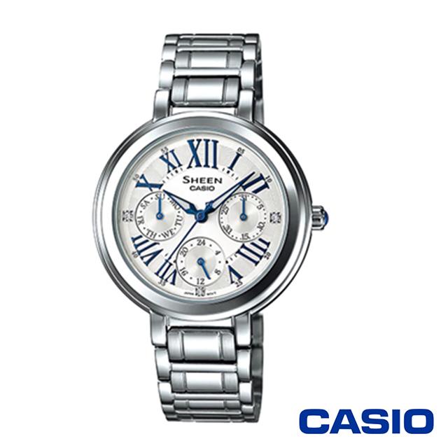 CASIO卡西歐 羅馬數字鑽鑽三眼施華洛世奇女腕錶-銀色x34mm  SHE-3034D-7A