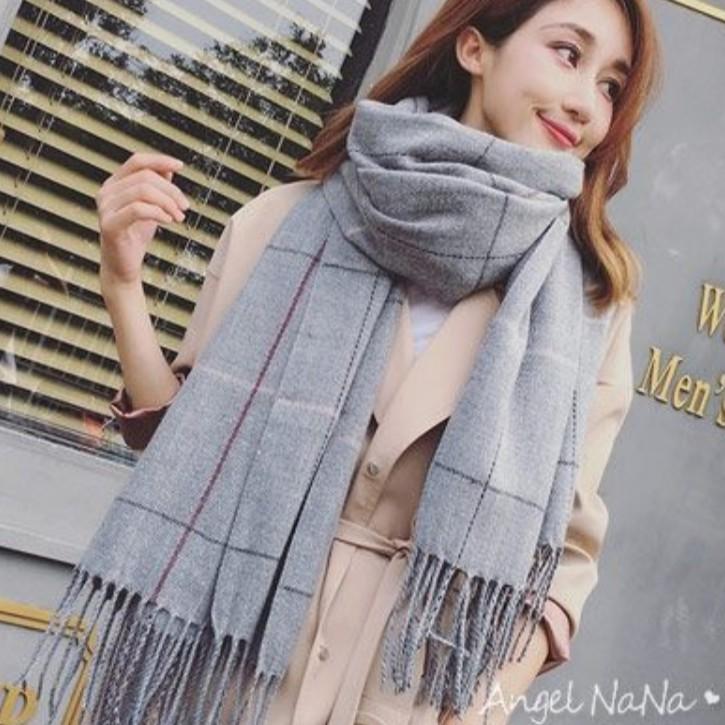 【AngelNaNa】圍巾-韓版仿羊絨格子菱格保暖2way女披肩 (SSA0014)