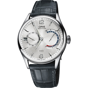 Oris Calibre 111 十日動力儲存手動上鏈機械腕錶-銀x灰/43mm 0111177004061-0712371FC