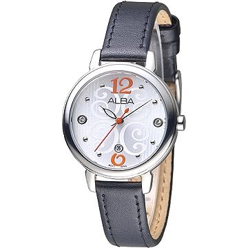 ALBA 佛洛拉女神晶鑽時尚女錶-銀白/黑帶(AH7L65X1)