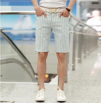 GIFT-藍白-韓版棉麻涼爽男休閒短褲