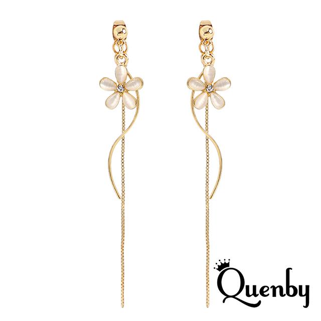 Quenby 925純銀 甜美女孩必備貓眼石S型長耳環/耳針