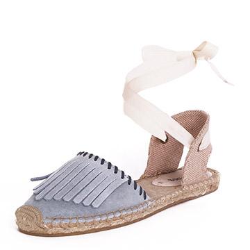 Soludos綁帶麂皮流蘇灰草編鞋