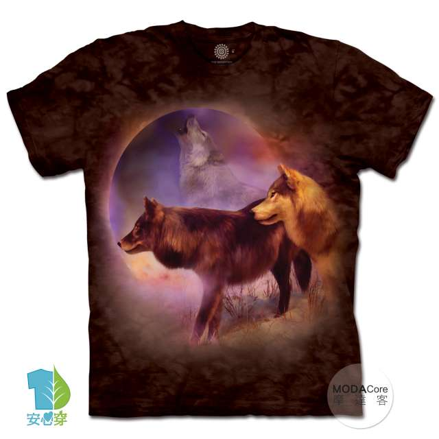 摩達客-預購-美國進口The Mountain 月之靈狼 純棉環保藝術中性短袖T恤