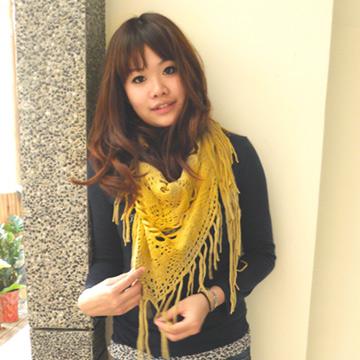 【Lus.G】氣質手工毛線編織流蘇二用圍巾/披肩-芥茉黃
