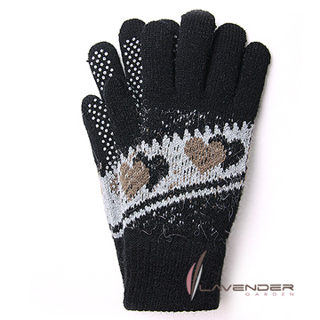 Lavender-甜心雙層手套-黑灰色
