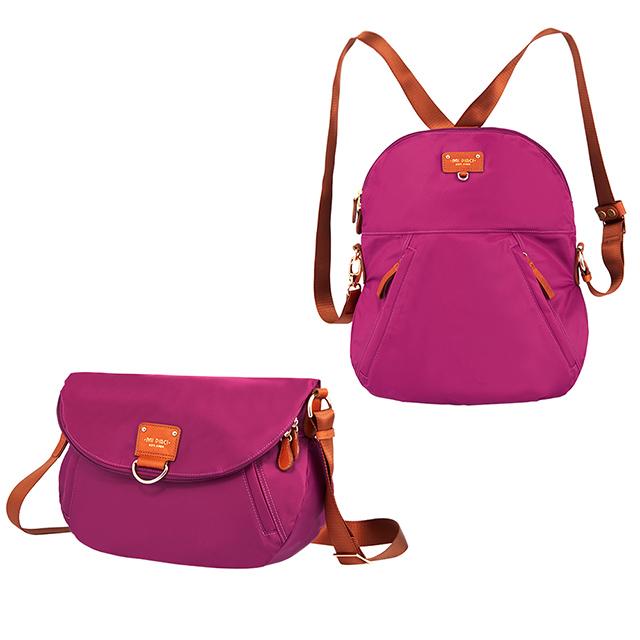 MI PIACI 革物心語-Doris系列-兩用後背包 / 側背包-1680193-玫瑰紅