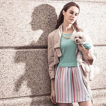 短袖點點條紋拼色造型寵物衣