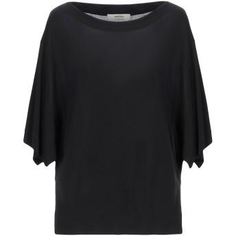 《セール開催中》ALPHA STUDIO レディース T シャツ ブラック 38 レーヨン 100%