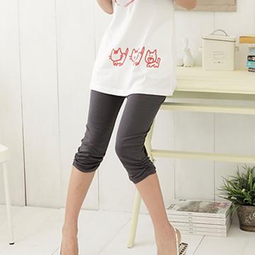 [S-7L熊衣褲語]R35基本搭配單品.褲腳抓皺素面七分內搭褲(黑、灰M-XL)