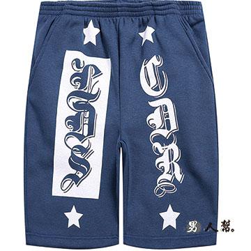 【男人幫】泰文英文字母加厚休閒短褲 (K0497)湖藍色