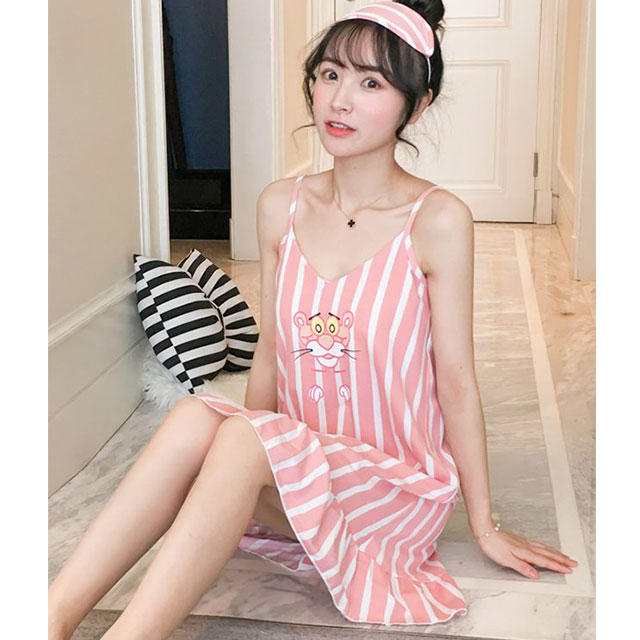【Secret Lover】(帶胸墊)粉紅豹直線條居家服吊帶睡裙SL5908