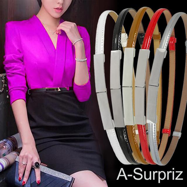 A-Surpriz 金屬長方型釦環可調節腰帶(5色選)