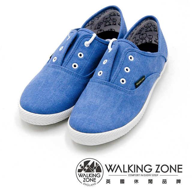 WALKING ZONE 果漾YOUNG純棉帆布鞋休閒鞋 藍