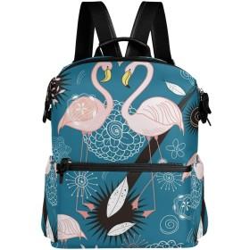 フラミンゴ 花柄 きれい リュック 学生用 デイパック レディース 大容量 バックパック 男女兼用 機能性 大容量 防水性 デザイン 旅行 ブックバッグ ファション