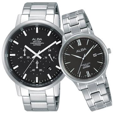 ALBA 雅柏 東京流行三眼時尚對錶 黑 42+30mm VD53-X296D+VJ22-X267D