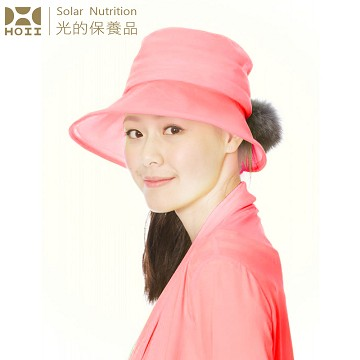 【后益 HOII】UPF50+抗UV防曬涼感先進光學機能布-毛球圓統帽 ★紅光