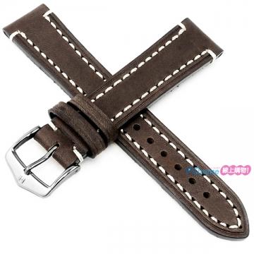 【海奕施 HIRSCH】皮革錶帶 Liberty Artisan L 深棕色 附工具 10900210 粗曠加厚款 潛水錶