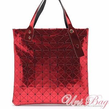 【Uni Bag】翻轉幾何金屬感拼貼包(8色-紅配黑)