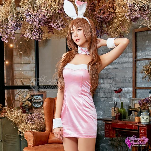 【Sexy Cynthia】角色扮演 俏麗粉紅兔女郎角色扮演服五件組