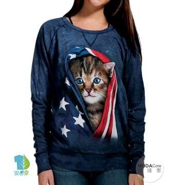 【摩達客】美國進口The Mountain 愛國小貓 女版休閒長袖T恤