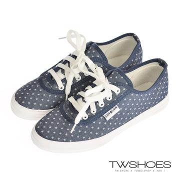 台灣鞋網‧彩色水玉點點平底帆布鞋【K124A3353】深藍