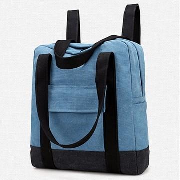 Abigail-韓版復古大容量帆布後背包6555(湖水藍)
