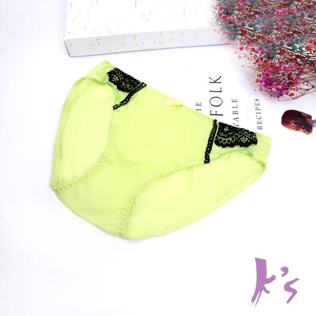 【K's凱恩絲】有氧蠶絲夏季繽紛綠涼爽網紗三角內褲