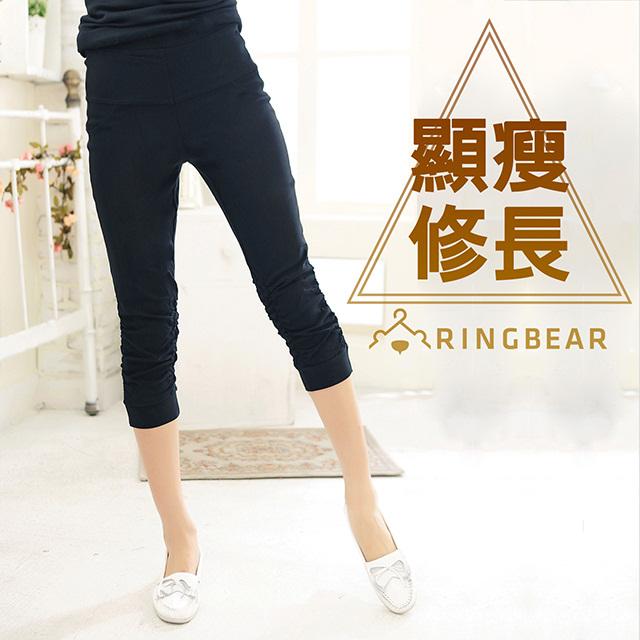 中大尺碼--超顯瘦修飾長腿寬版鬆緊褲頭抓皺褲管七分褲(黑2L-4L)-S58熊衣褲語