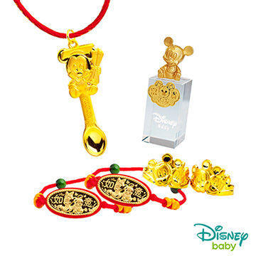 Disney迪士尼系列金飾 彌月金飾印章套組木盒-榜首米奇款-米奇造型印章 0.75錢
