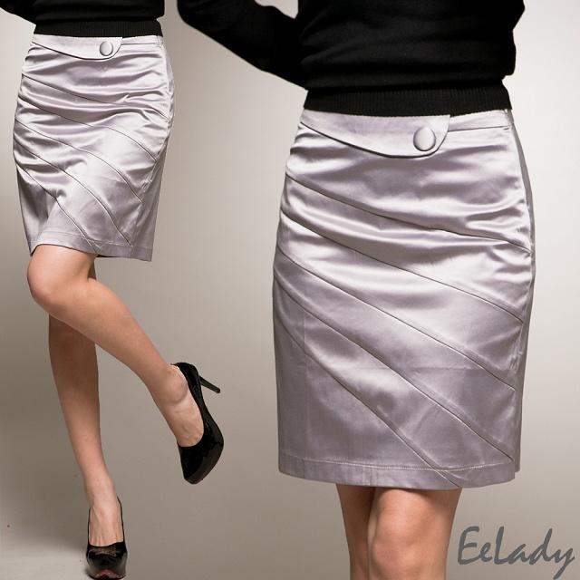 【EE-LADY】鍛面斜紋層次包臀窄裙-灰