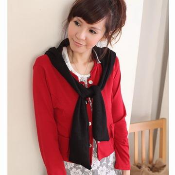【JUST-LADY】短版可拆式連帽型圍巾外套 (棗紅)