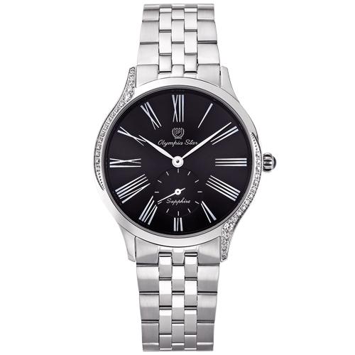 Olympia Star 奧林比亞之星 優雅晶漾弧線腕錶 黑 58087DBS