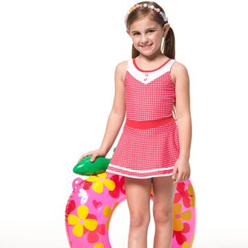 【SAIN SOU】泡湯SPA戲水女童連身裙泳裝附泳帽A88606