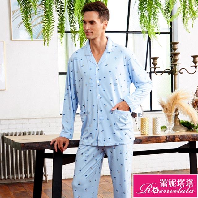 蕾妮塔塔 針織棉男性長袖褲裝睡衣(R88210-5度假風情)