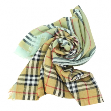 BURBERRY Vintage 雙面格紋輕盈羊毛絲綢圍巾 粉綠